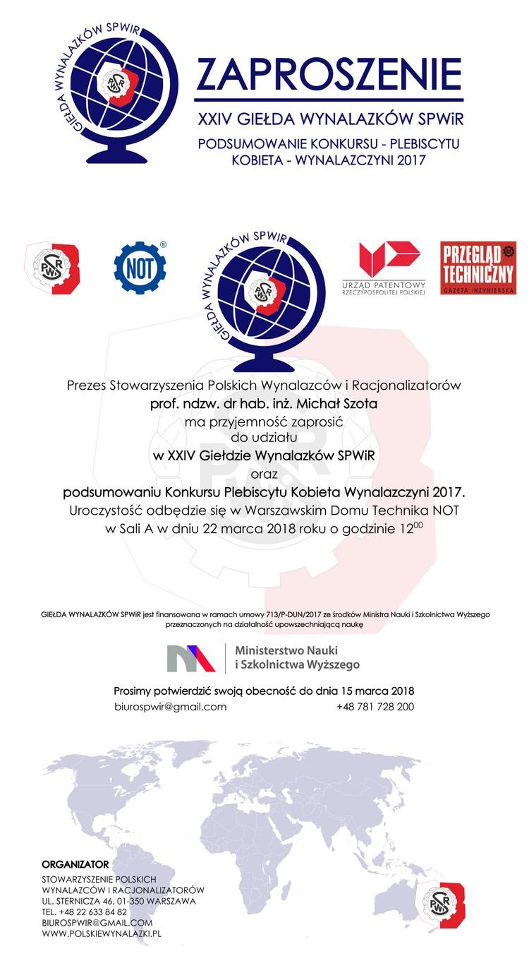 Zaproszenie na Giełdę Wynalazków i podsumowanie plebiscytu WYNALAZCZYNI 2017