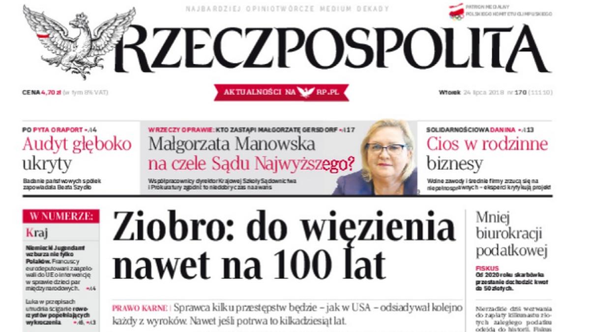 "Okładka dziennika ""Rzeczpospolita"""