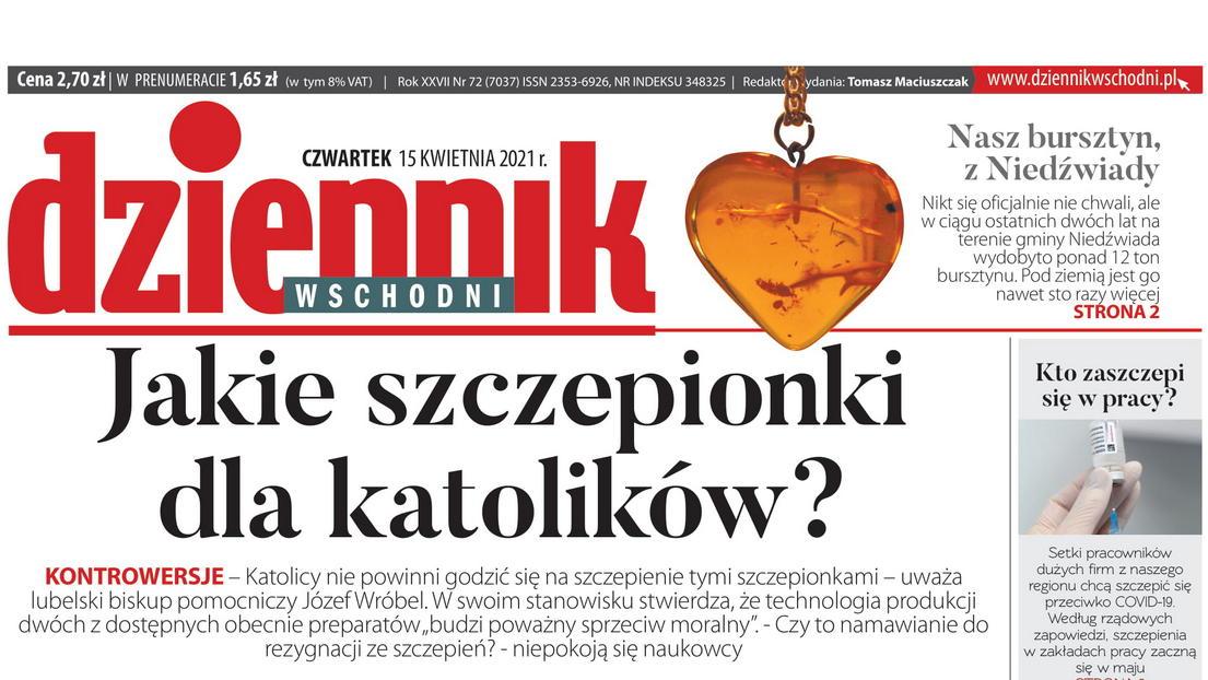 """Okładka """"Dziennika Wschodniego"""""""